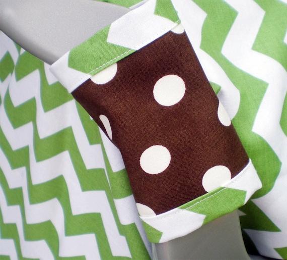Green Chevron Car Seat Blanket (Car Seat Canopy with Elastic)
