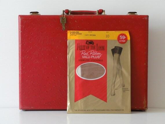 1 PR Vintage Nylon Stockings-1960's Fruit of the Loom-Sz 10