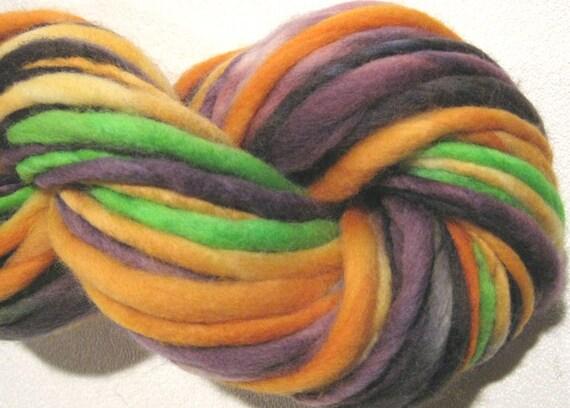 handspun yarn Monster Mash thick and thin bulky singles merino yarn, 60 yards, hand dyed merino wool top