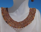 Beaded Chevron Necklace in Rootbeer Colored Beads with Matching Earrings