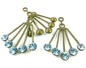 2 - RARE Vintage Art Deco Style Brass Dangle Finding with Swarovski Crystals Ear Jacket - Aquamarine - 30x21mm