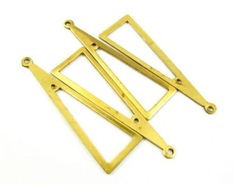 6 - Raw Brass Triangle 2-Hole Dangle Stampings