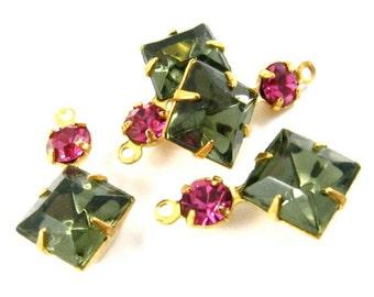 Black Diamond & Fuchsia Vintage Square Rhinestone Charms Set Stones 18x11mm Gray Pink Earring Component 1 Ring Brass Settings - 2