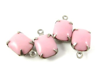 4 - Vintage Glass Octagon Stones in 1 Ring Silver Antique Brass Prong Settings - Opaque Rose Pink - 10x8mm