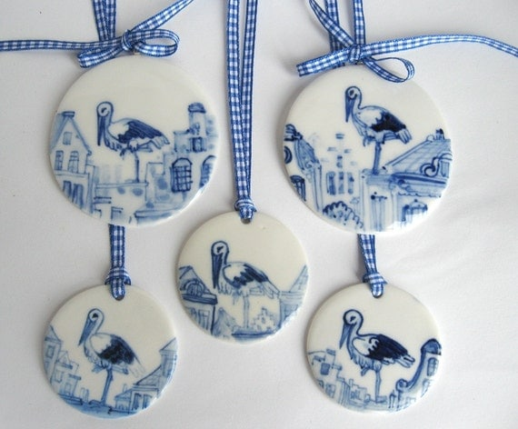 Stork - Large Handpainted Delft  Porcelain Ornament