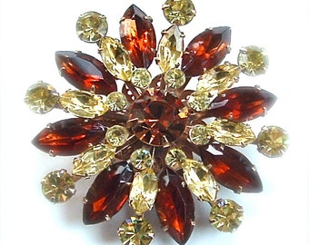 Vintage Rhinestone Sunburst Brooch Lemon Yellow Citrine Rootbeer Coffee Star Costume Jewelry