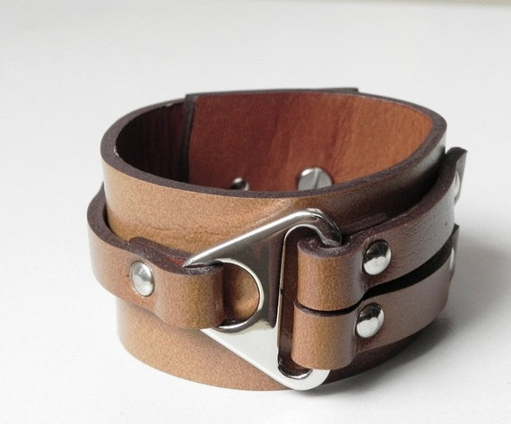 RESERVED for amcbridesf Caramel Leather Cuff Leather Bracelet with with Metal Triangle Silver Tone