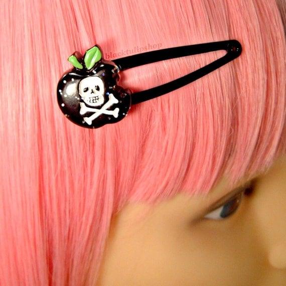 Creepy Cute Black Poison Glitter Apple Hair Snap Clip Barrette White Skull Crossbones