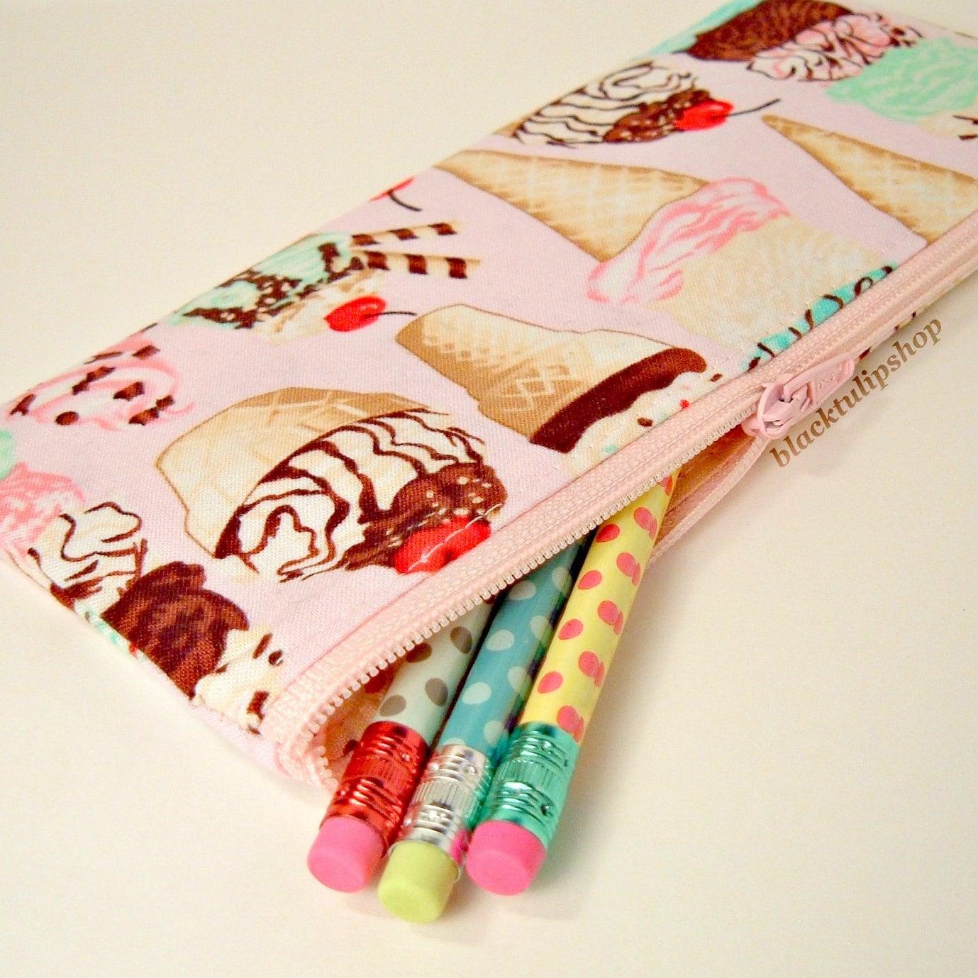 Cute Pencil Case Zipper Pouch Ice Cream Cones Treats Pink