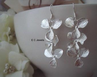 Triple Orchid Earrings
