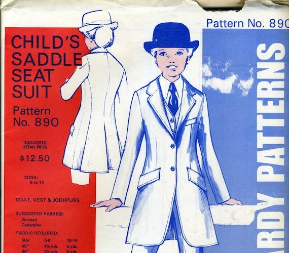 Vintage jean hardy uncut pattern 890 childs saddle seat suit size 6 14