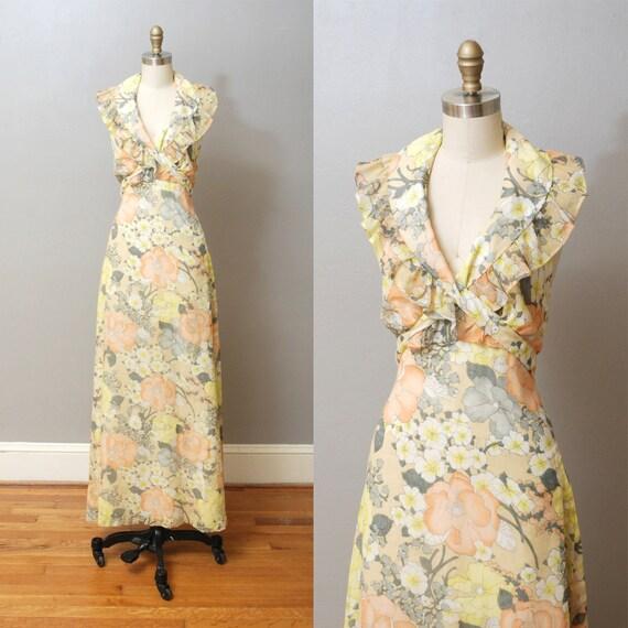 r e s e r v e d 1970s Maxi Dress - Yellow Floral Halter Maxi Dress
