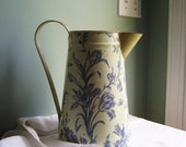 Tall Tin Tulip Blue and White Glazed Pitcher