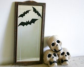 Spooky Halloween Decor - Vintage Etched Mirror with Wood Frame