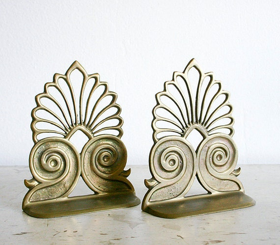 Vintage Mid Century Bookends - Solid Brass