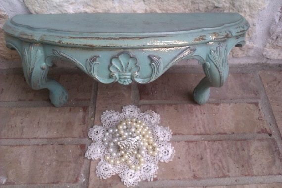 Upcycled Joyous Jadeite Green - Vintage Wall Shelf - Architectural - Fleur De Lis - Chic Display
