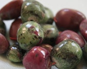 """Large and Rare Ruby Zoisite Organic Smooth Polished Nuggets -  14"""" Strand"""