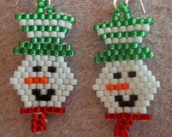 PDF Smiling Snowman Brick Stitch Bead Weaving Tutorial (INSTANT DOWNLOAD)