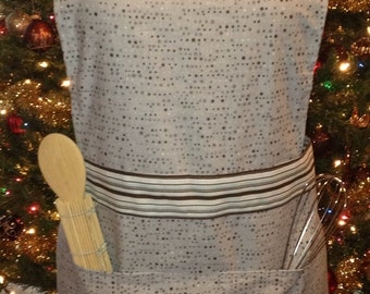 Cotton Blue and Brown Stripes and Dots Apron