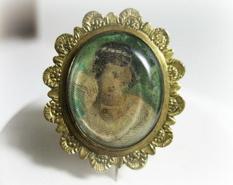 Small Antique Georgian Pin - Brooch - Fichu - Lace Pin - Portrait Under Glass - Antique Jewelry - Late 18th Century