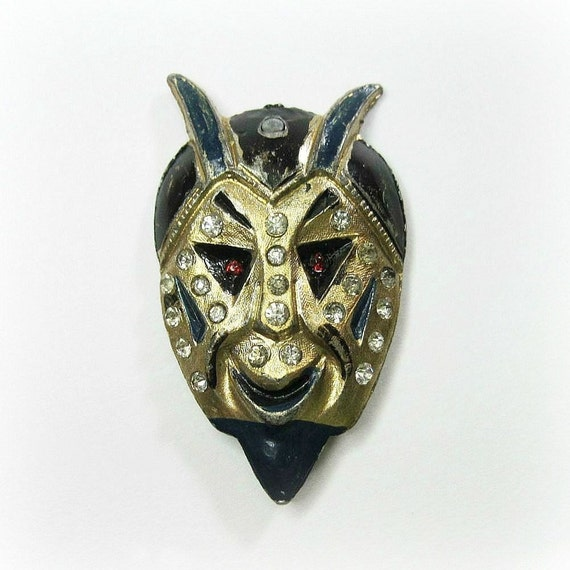 RESERVED Vintage Art Deco Devil Brooch - Pin - Blue - Black - Enamel - Rhinestones - Halloween - 1920s to 1930s