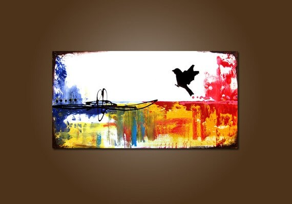 Independence - 36 x 18, Original Modern Contemporary Acrylic PAINTING canvas, Heavy Textured Abstract Bird Art by Shanna