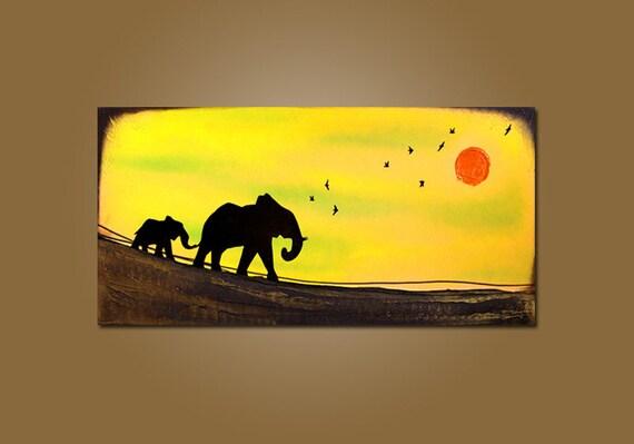 Into the Sun - HUGE 36 x 18, Textured Acrylic Art PAINTING on canvas, Contemporary Earthy Elephant Art, Kids Nursery