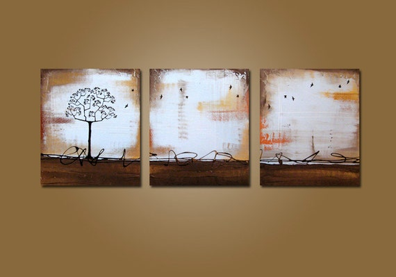 Standing Tree - 48 x 20, Original Modern Contemporary Acrylic PAINTING canvas, Bird Art by Shanna