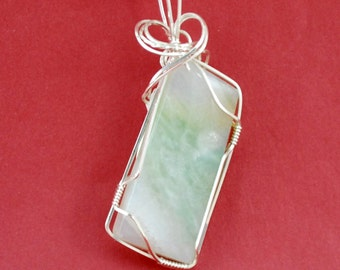 Ocean Wave Jasper pendant with Sterling silver wire wrap - P200