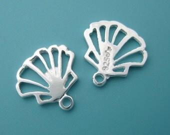 6 pcs 10mm Sterling Silver filigree sea shell charm (BSS155)