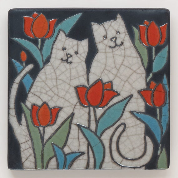 Cats,raku fired ceramic art tile,handmade, home decor