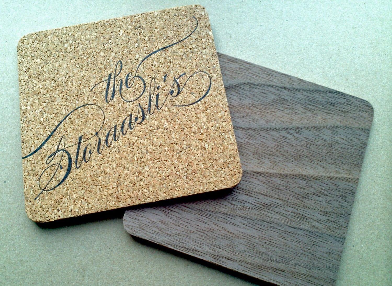 Custom Cork And Wood Coasters Letterpress Printed Set By