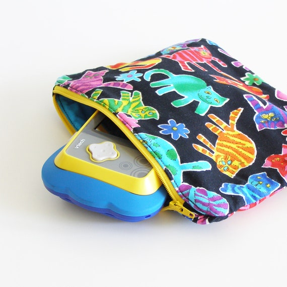 crazy cats - zipper small pouch - colorful cat pattern clutch or bag - holds vtech MobiGo - pencil case or art supply container