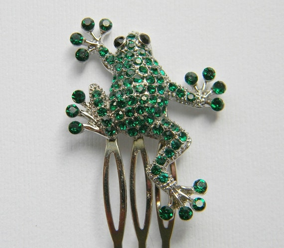 Rhinestone Frog Hair Comb - Dark Green Frog Hair Comb - Original - Swarovski Rhinestones - Gift