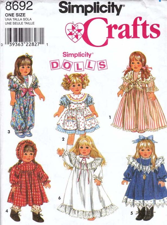 DOLL Clothes Sewing Pattern  Simplicity 8692 UNCUT