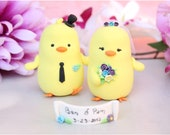 Wedding cake topper Chicks - unique love birds personalized cute country rustic yellow spring wedding purple light blue white ivory barn