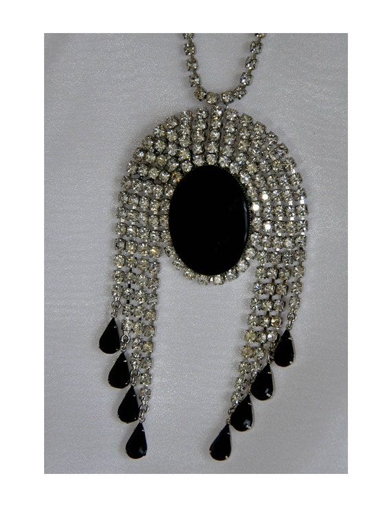 RESERVED for SoFun1960s Original by Robert Massive White Rhinestone with Jet Black Cabochon Dangling Brooch Necklace with Rhinestone Chain