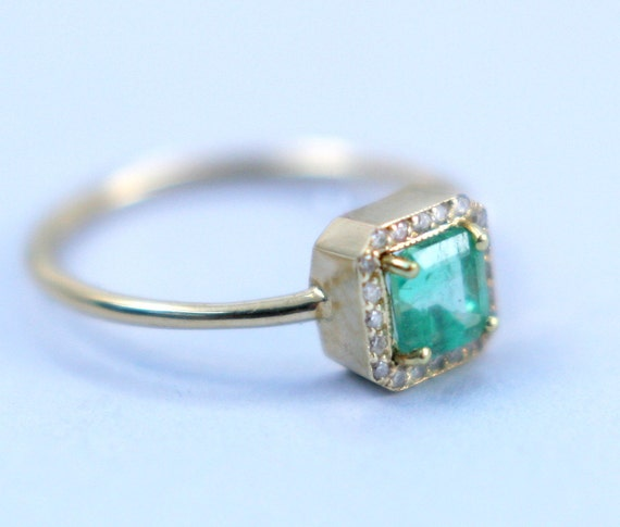 Emerald With Diamonds - Engagement Ring