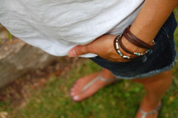 Potawatomi Princess, READY TO SHIP, Leather Bracelet, Cuff, Bangle, Sterling Cuff Wrap, Turquoise Wrap, Leather Bracelet, Leather Wrap