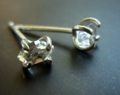 Small Herkimer Diamond Studs, Raw Quartz Jewelry, Clear Quartz Earrings Sterling Silver