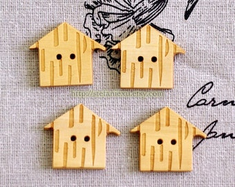 4PCS Japanese Natural Wooden Buttons - Lovely Carved House (4PCS)