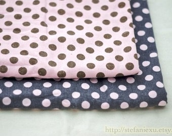 Dots, Polka Dots Collection-Retro Style, Pink Polka Dots On Grey-Japanese Linen Cotton Blended Fabric(1/2 Yard)