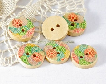 Wooden Buttons, Painted Color - Colorful Lollipops (6 in a set)