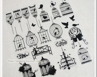 Offset Printing Iron On Transfer (L) - Vintage Bird and Birdcage Collection (White Or Black)
