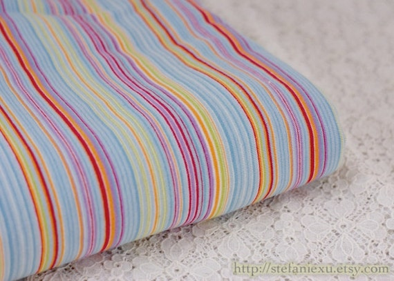 Colorful Neat Rainbow Stripes- Knit Cotton Fabric (1/2 Yard, 17.7x70 Inches)