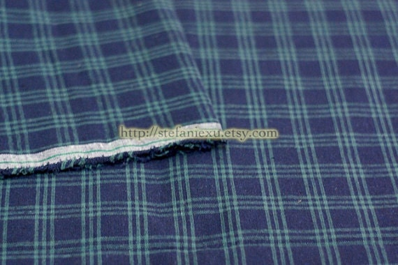 LAST PIECE-Check Gingham Collection- British Style Retro Green Colorway Checks - Japanese Linen Cotton Blended Fabric (1/2 Yard)