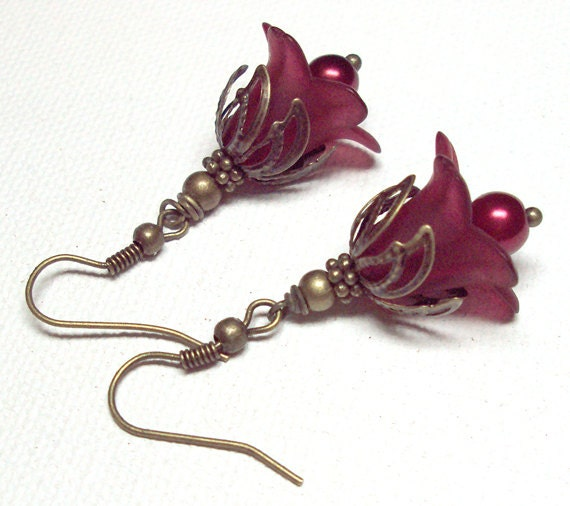 Earrings Dark Red  Lucite Lily Flower Antique Brass Glass Pearl FREE SHIPPING