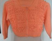Adorable Girls' Handmade Cantaloupe Orange Cardigan Sweater Size S