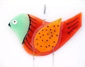 Fused Glass Aqua Bird  Windchime, Suncatcher (Aqua and orange)