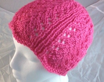 Knit Feather Lace Hat Beanie Cloche - Watermelon Pink